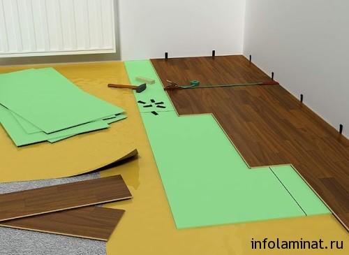 Укладка листовой подложки под ламинат