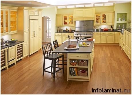 Ламинированные полы в кухне