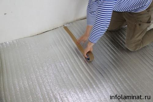 монтаж подложки под теплый пол